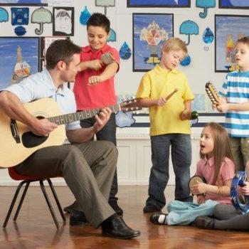 Children listening to live music