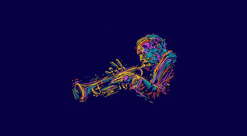 jazz music - trumpet player painting